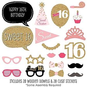 Amazoncom Big Dot Of Happiness Sweet 16 Birthday Photo Booth