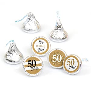 We Still Do 50th Wedding Anniversary Party Hershey Kisses Round Circle Candy Stickers