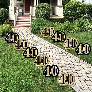 Adult 40th Birthday Gold Lawn Decorations