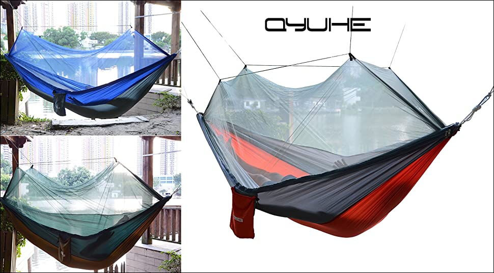 qyuhe portable camping hammocks with mosquito   amazon    qyuhe portable nylon fabric travel camping hammock      rh   amazon