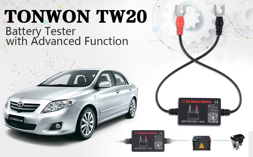 TONWON Car Battery Tester, Bluetooth Wireless Automotive 12V Battery Load Tester Charging System Diagnostic Analyzer Monitor for Android & iOS