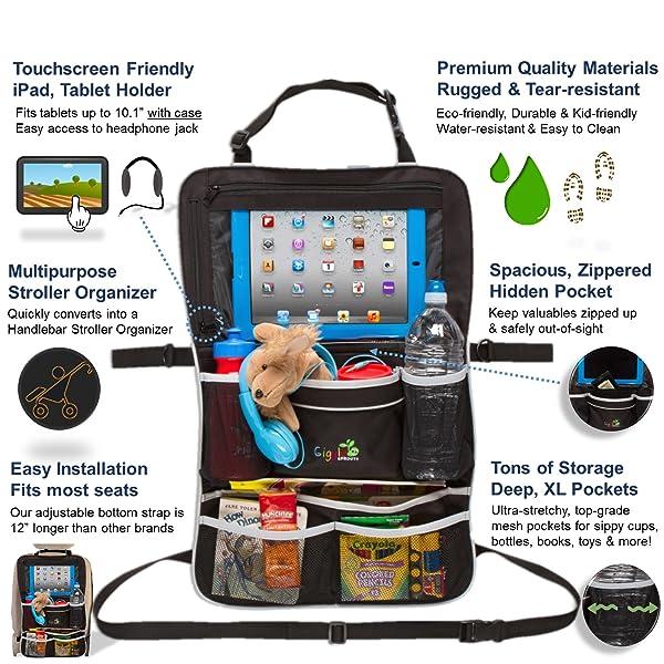 Backseat Organizer L Car Organizer for Kids- Large Size #1 Kids Toy Storage