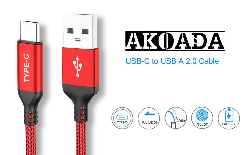 USB Type C Cable,AkoaDa 3-Pack (10ft+6.6ft+3.3ft) USB A to USB-C Fast Charger Nylon Braided Cord Compatible with Samsung Galaxy Note 9 8 S8 S9 S10 10 ...