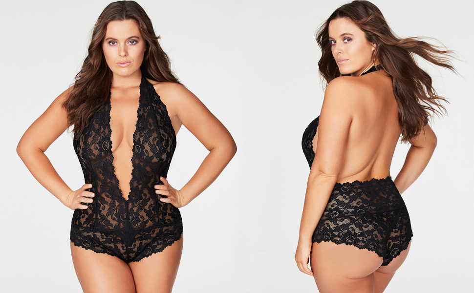 Black lace plus size teddy