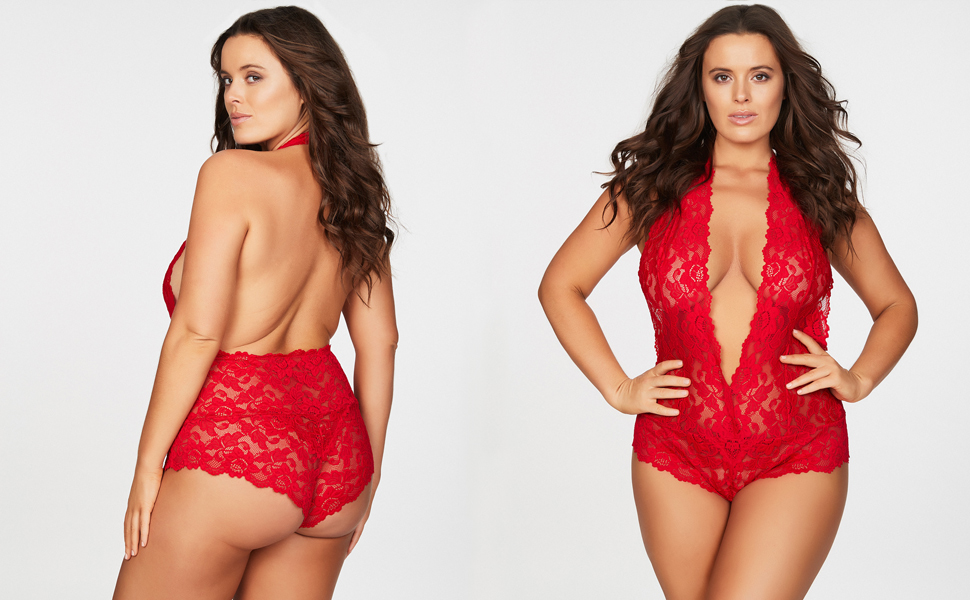 Red plus size halter lingerie