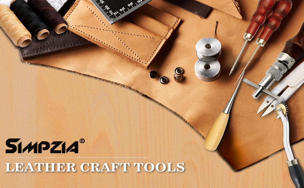 Leather sewing tools simpzia 24 pieces leather for Leather sheets for crafting