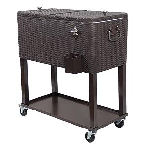 Amazon.com: UPHA - Cofre de hielo portátil con ruedas de 80 ...