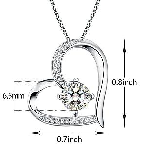 ad2804110c1 Amazon.com  Heart Necklace 5A Cubic Zirconia Love Necklace 14k White ...