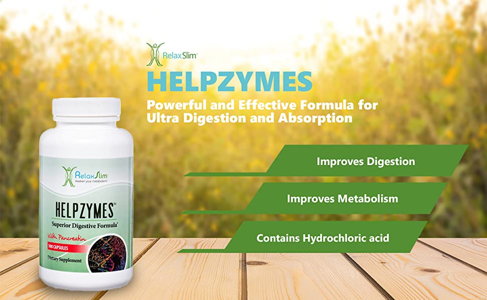 RelaxSlim Superior Digestive Enzymes with HLC Acid and Pancreatin, Formulated by Award Winning...