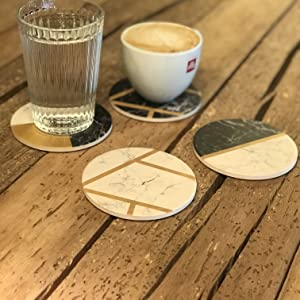 coffee water spills absorbent coasters coaster table marble ceramic drink for drinks  stone modern