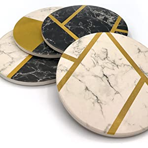 coaster coasters set absorbent stone ceramic for drinks modern round set of 4 table bar marble black