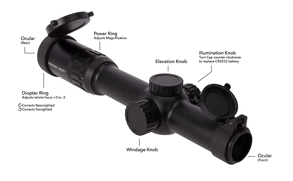 Primary Arms 1-6x24 FFP Rifle Scope Illuminated ACSS Raptor 5.56 .308