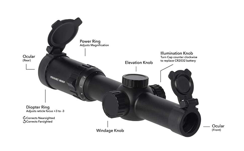 Primary Arms 1-6x24 SFP Rifle Scope ACSS Reticle 5.56 5.45 .308 Part Layout