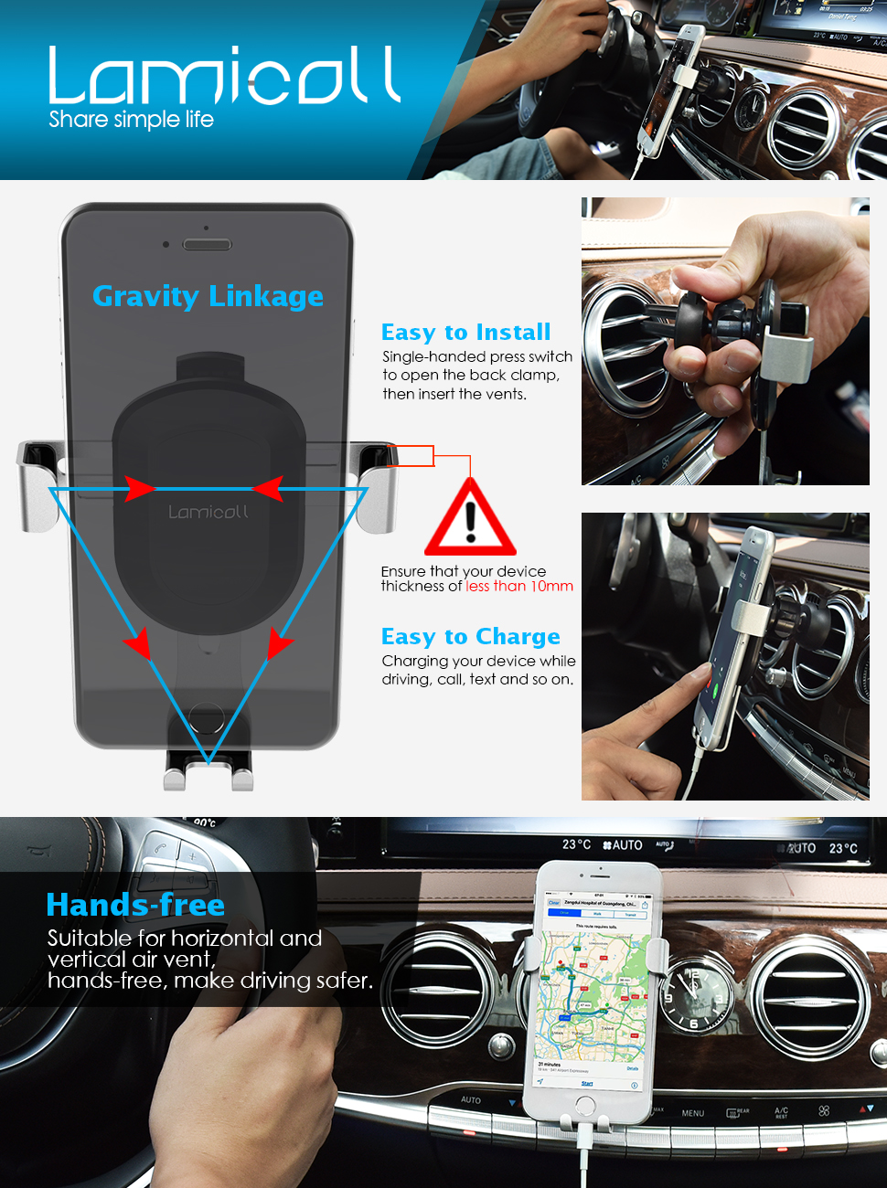 Lamicall Gravity Phone Mount : Universal Cradle Stand Holder Compatible with iPhone Xs XR X 8 7 6 6s Plus 5 5S 5C SE, Galaxy S5 S6 S7 S8, Google, LG, Huawei, Other Smartphone