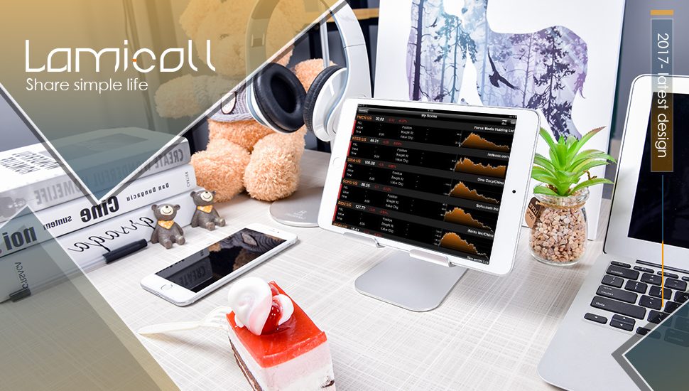 Universal tablet stand suitable to iPad and tablets between 5 and 13 inches, like iPad Pro 10.5 inch, iPad Air, iPhone X, iPhone 8 plus, Surface Pro, Samsung Tablets, Nintendo Switch. When the device is larger than 12'' (such as iPad pro 12.7'')