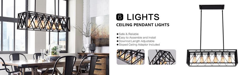 mirrea Vintage Pendant Light Fixture 6 Lights in Rectangle Frame Shade Matte Metal Black Painted