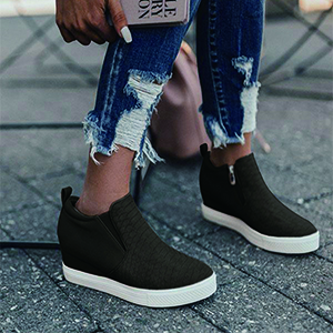 Women's Platform Wedge Sneakers Fashion High Top Ankle Booties Slip On Side Zipper Casual Shoes