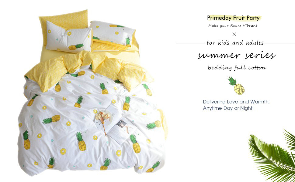 BuLuTu Pineapple Print Pattern Premium Cotton Twin Bedding Collections With 4 Corner Ties Bedding Duvet Cover Sets