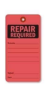 Heavy-duty Manila Repair Tag, Maintenance Tags, Reinforced Fiber Patch Eyelet