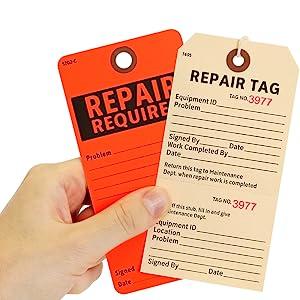 Heavy-duty Manila Repair Tags, Reinforced Fiber Eyelet, Maintenance Tag