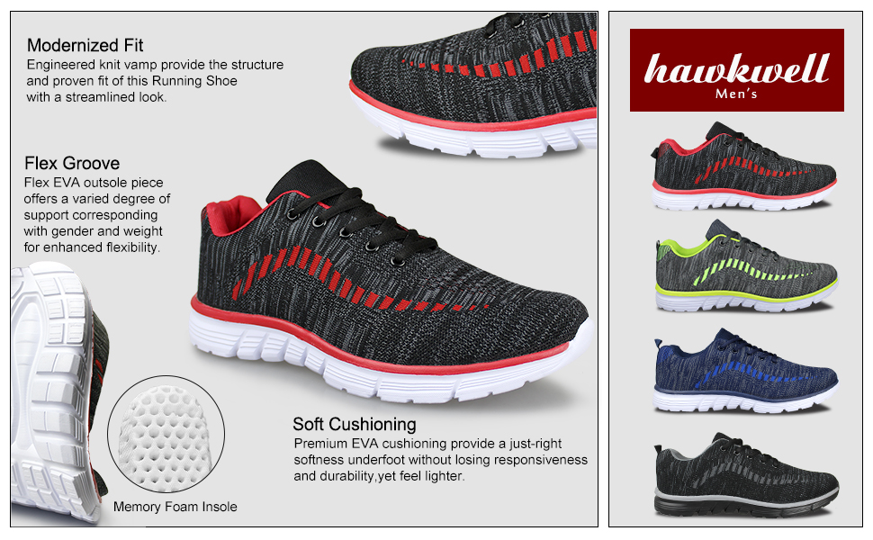 uk availability b420a 0200f Hawkwell Men s Knit Running Shoes Breathable Lightweight Athletic Tennis  Walking Gym Shoes