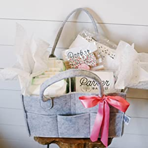 Parker Baby Co Diaper Caddy as a thoughtful baby shower gift and baby registry must-have.