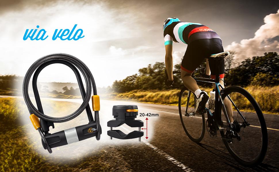 Via Velo bike u lock with cable and mounting bracket