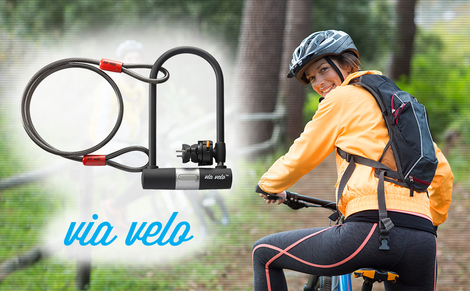 15mm Bike U-Lock with 120cm Vandalproof Cable