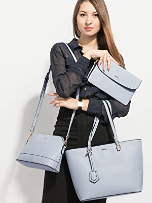 stylish light blue purse set