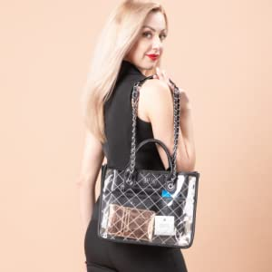 black quilting clear stadium concert work chain pu handbag