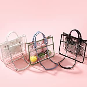 fashion clear see through hand bag for lady