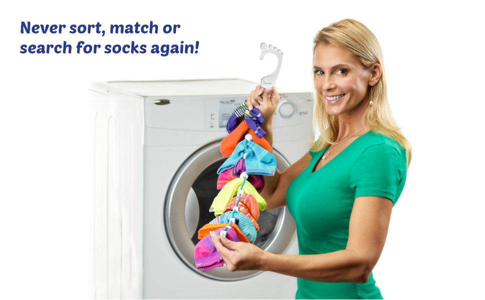 "Woman holding up a Sockdock with a caption saying ""Never sort, match or search for socks again"""