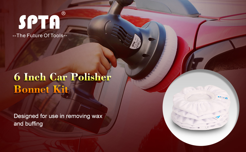 SPTA White Car Polisher Pad Bonnet Terry Cloth Pads Waxer  polishing Cover  For 5 And 6 Car Polisher Pack of 5Pcs Christmas Decoration 6f2c998b2df