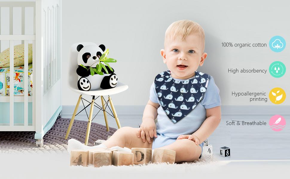 ZWOOS 8 Piezas Baberos de beb/é Altamente absorbente No se deforma Baberos de algod/ón S/úper Suaves con Bot/ón a presi/ón
