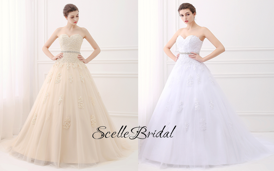Scellebridal sweetheart strapless a line lace appliques wedding