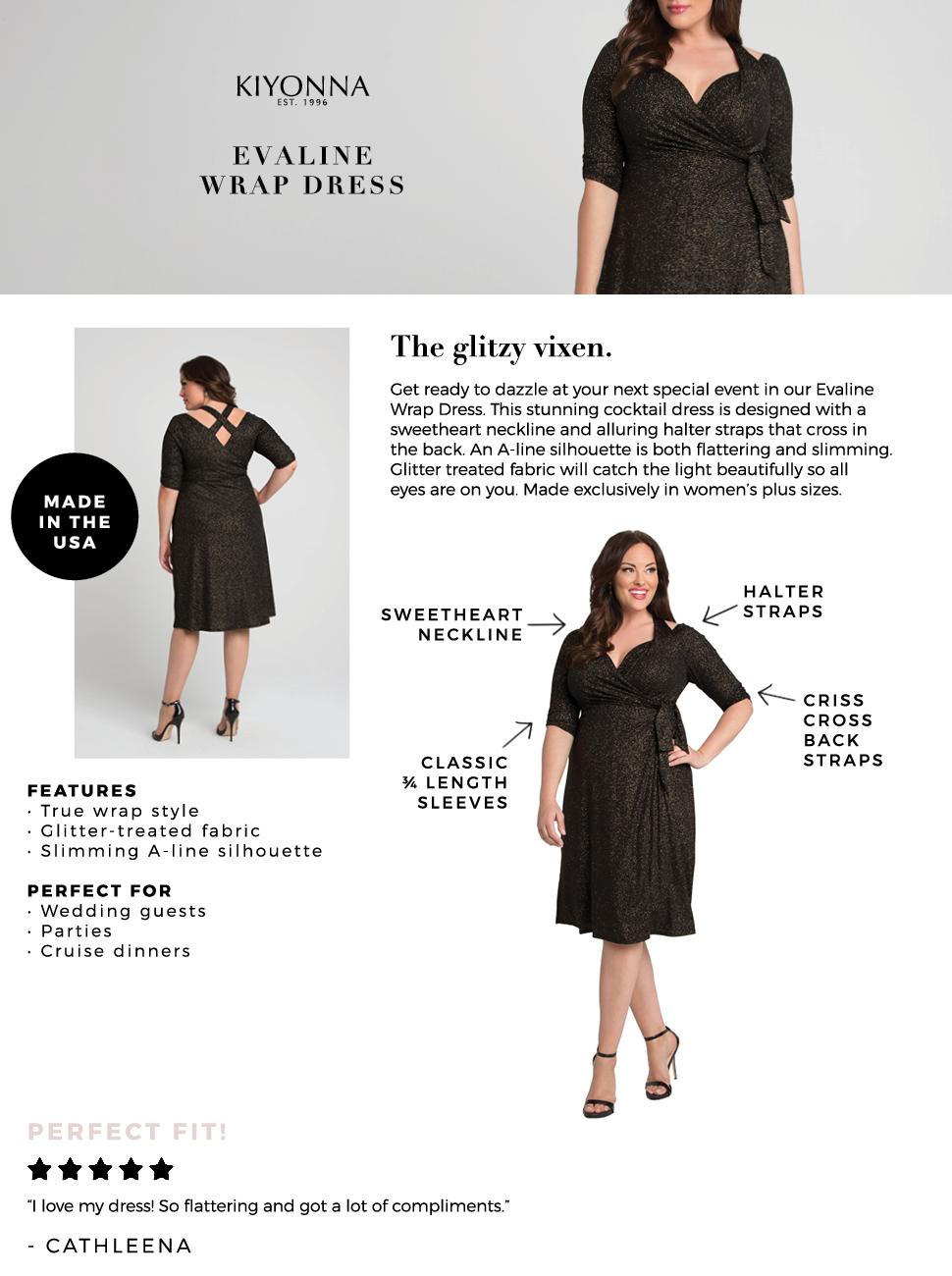 Kiyonna Women\'s Plus Size Evaline Wrap Dress at Amazon ...