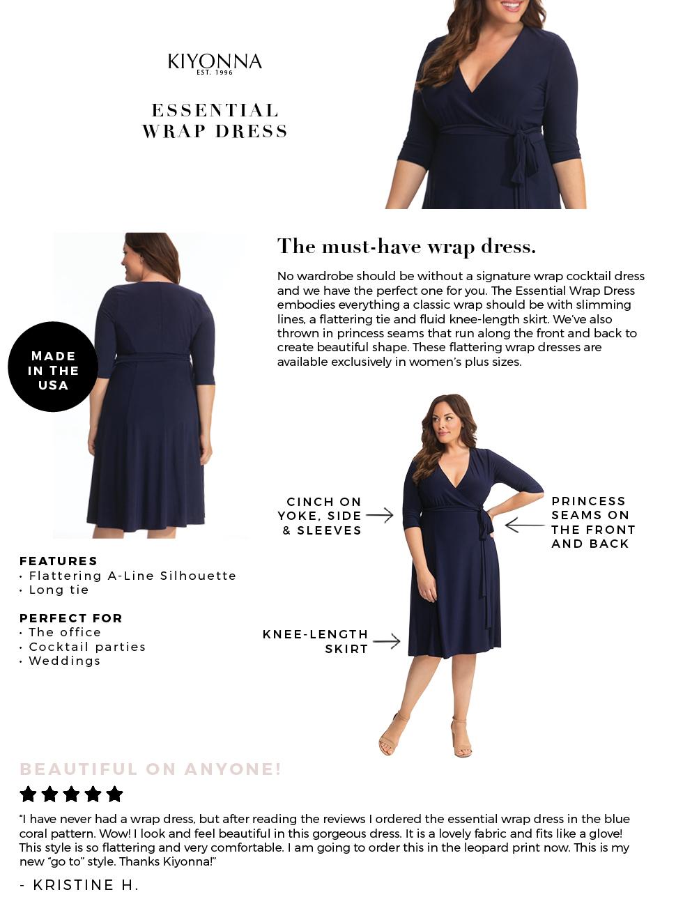 Kiyonna Women S Plus Size Essential Wrap Dress At Amazon Women S Clothing Store