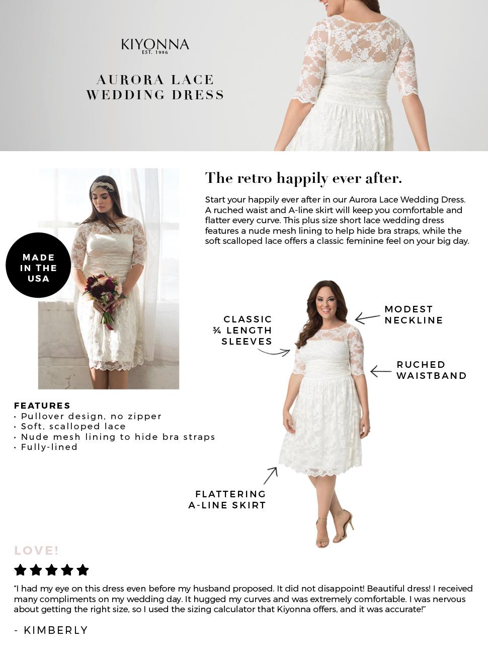 5266828853 Kiyonna Women s Plus Size Aurora Lace Wedding Dress at Amazon ...