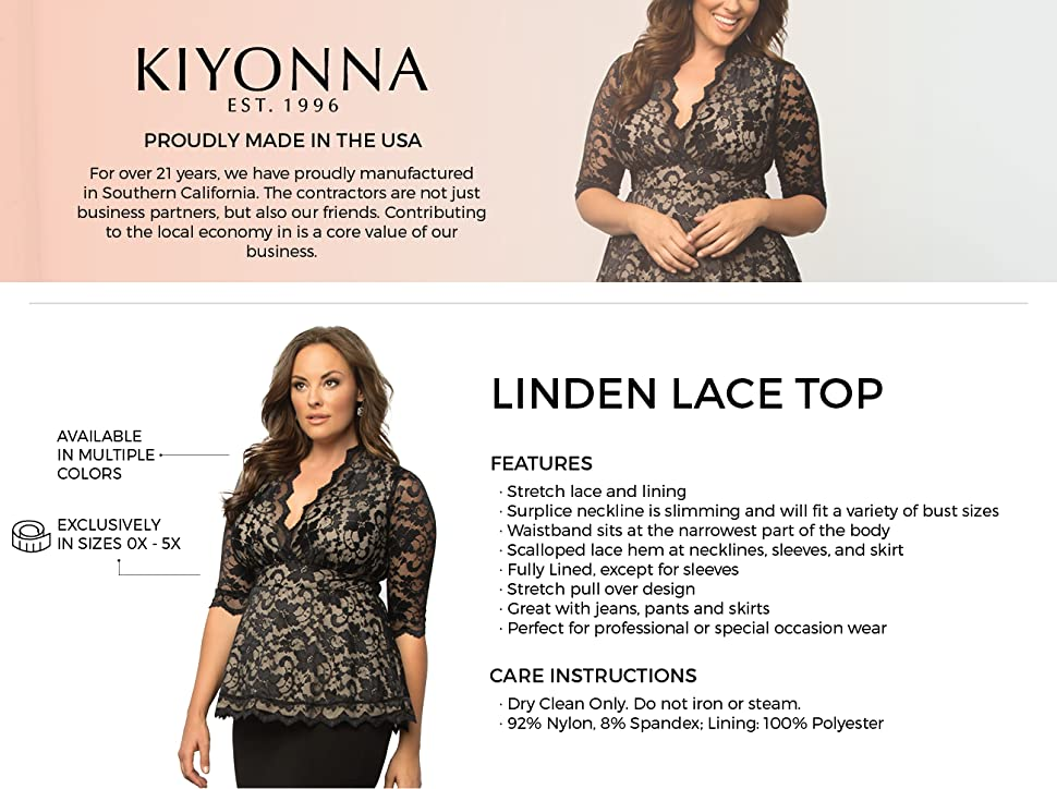7a584fad3c7 Kiyonna Women s Plus Size Linden Lace Top at Amazon Women s Clothing ...