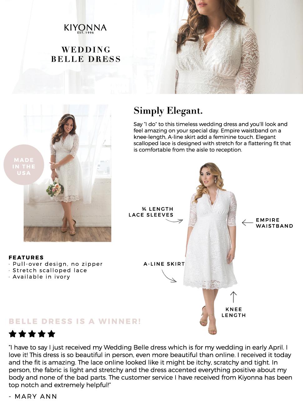 85d71666bfd Kiyonna Women s Plus Size Wedding Belle Dress at Amazon Women s ...