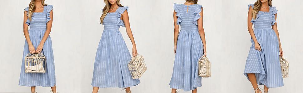 c29cc6ceda6 Miessial Women s Striped Linen Long Dress Elegant Ruffle Cap Sleeves ...