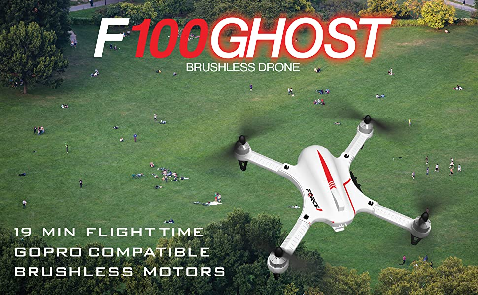 Force1 F100 Ghost GoPro Drone – Drone Camera w/ Brushless Motors