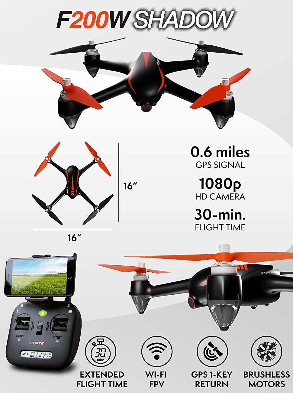 FULLY LOADED FPV DRONE KIT W CAMERA SMARTPHONE HOLDER Go Farther Faster With The MJX Bugs 2 Wi Fi Drone That Features Built In GPS And A 1080p Camera