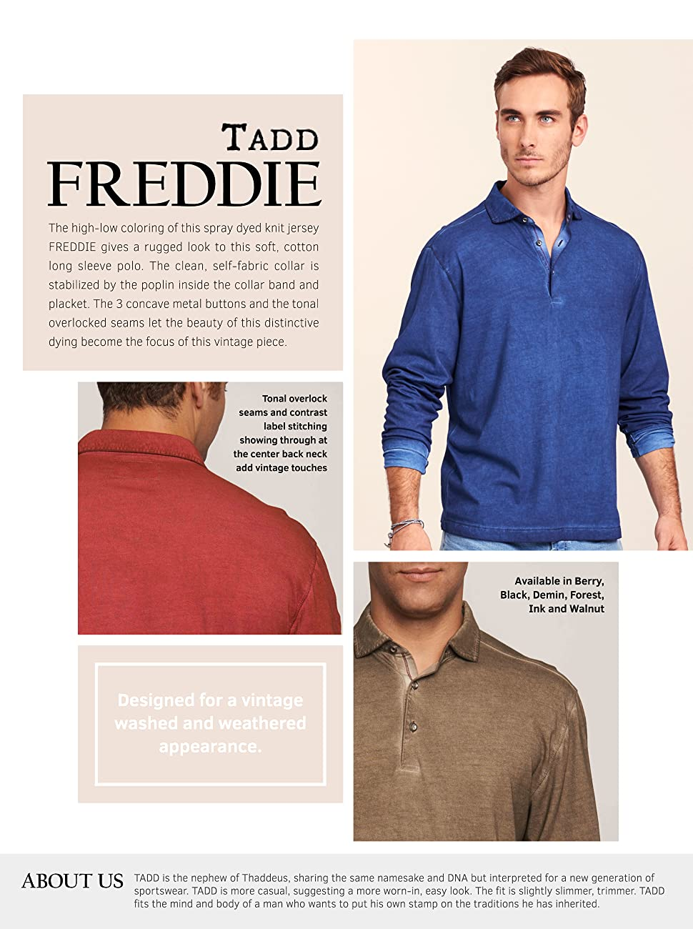 94eb467497 TADD by Thadddeus Mens Freddy Long Sleeve Cotton Collared Polo Shirt ...