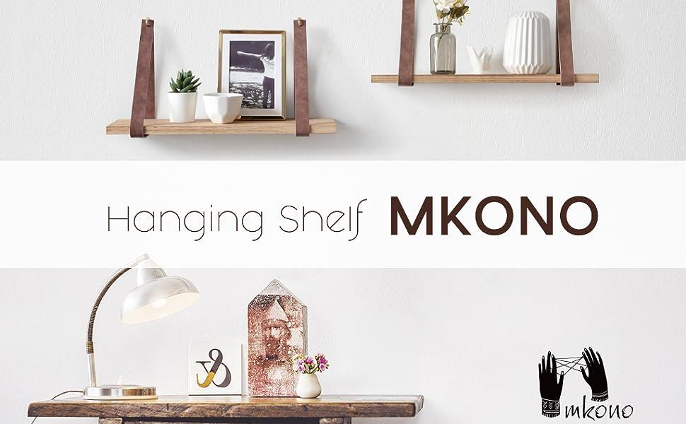 Amazon.com: Mkono - Estantería colgante de madera flotante ...