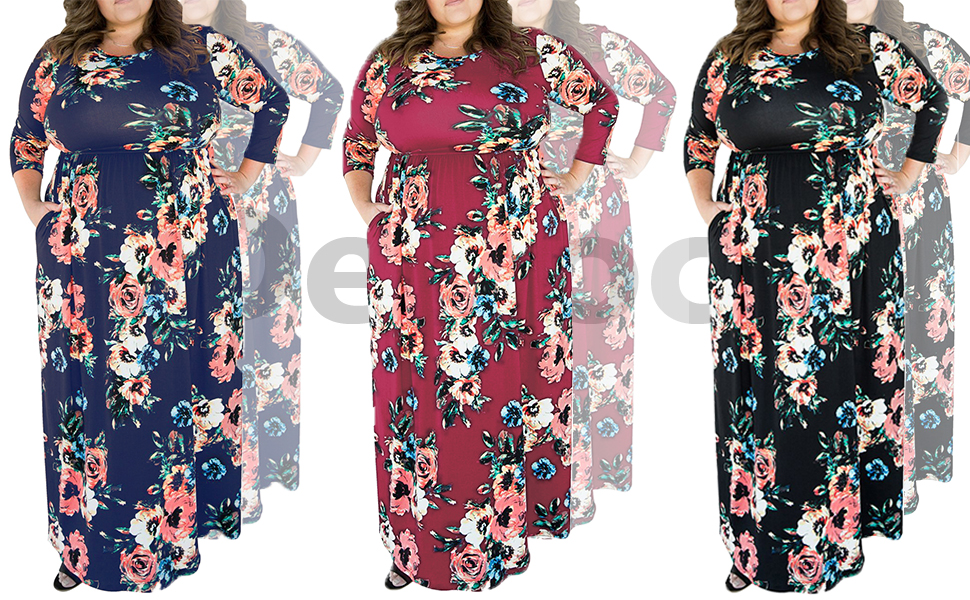 590c44d019b Delcoce Women s Semi See-through 3 4 Sleeve Flower Floral Printed Empire  Waist Long Maxi Party Dresses Plus Size Dress with Pockets S-XL