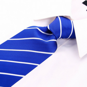 blue tie striped