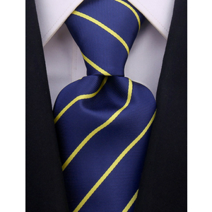 blue and yellow tie with stripes