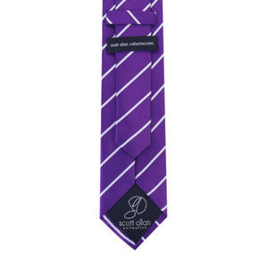 scott allan pencil stripe neck tie purple