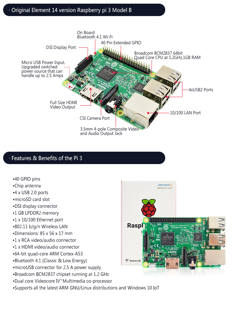 Raspberry Pi 3 Model B Board Computers Accessories Acts As An Output Of The Circuit Click To View Fullsize Picture Product Description